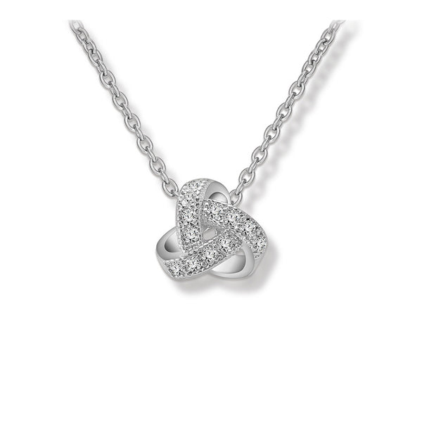 Romantic Love Knot CZ Diamond Pendant Necklace