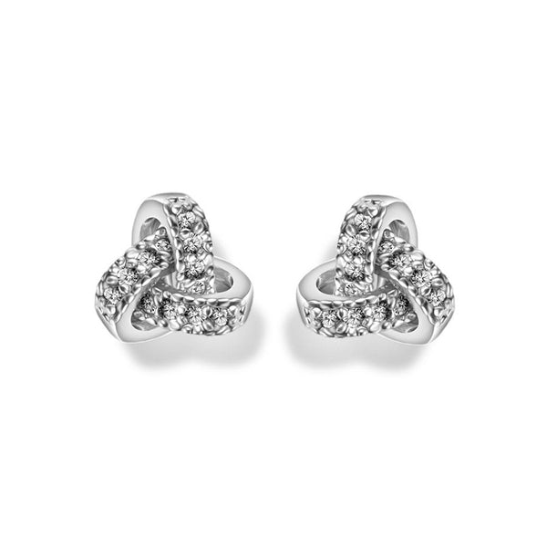 MyKay Romantic Love Knot CZ Diamond Earrings