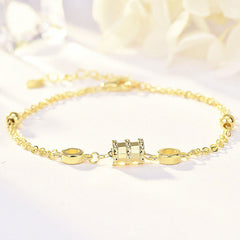Mykay forever love sterling silver bracelet yellow gold