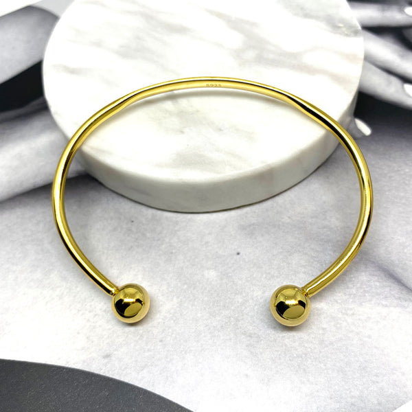 Double Ball Bangle in Sterling Silver Gold Vermeil