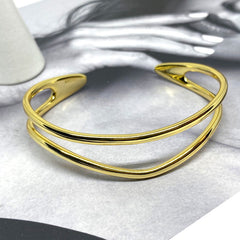 Double Line Geometric Bangle in Sterling Silver Gold Vermeil