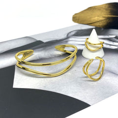 Adjustable Double Line Ring in Sterling Silver Gold Vermeil