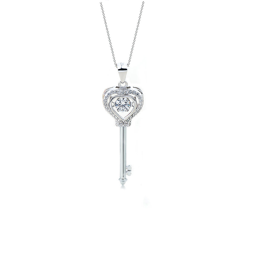 Mykay moving heart key pendant sterling silver necklace mykay jewelry mykay moving heart key pendant sterling silver necklace mozeypictures Image collections