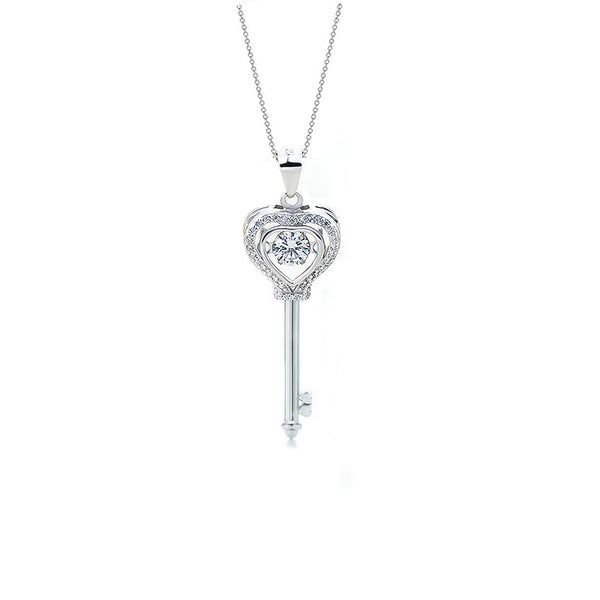 Moving Heart Key Pendant Sterling Silver Necklace