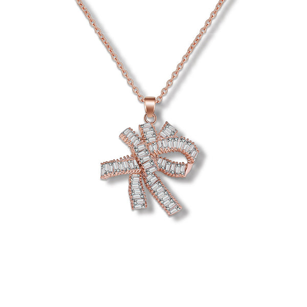 MyKay Large Bow Knot Tapered Baguette Pendant CZ Diamond Necklace