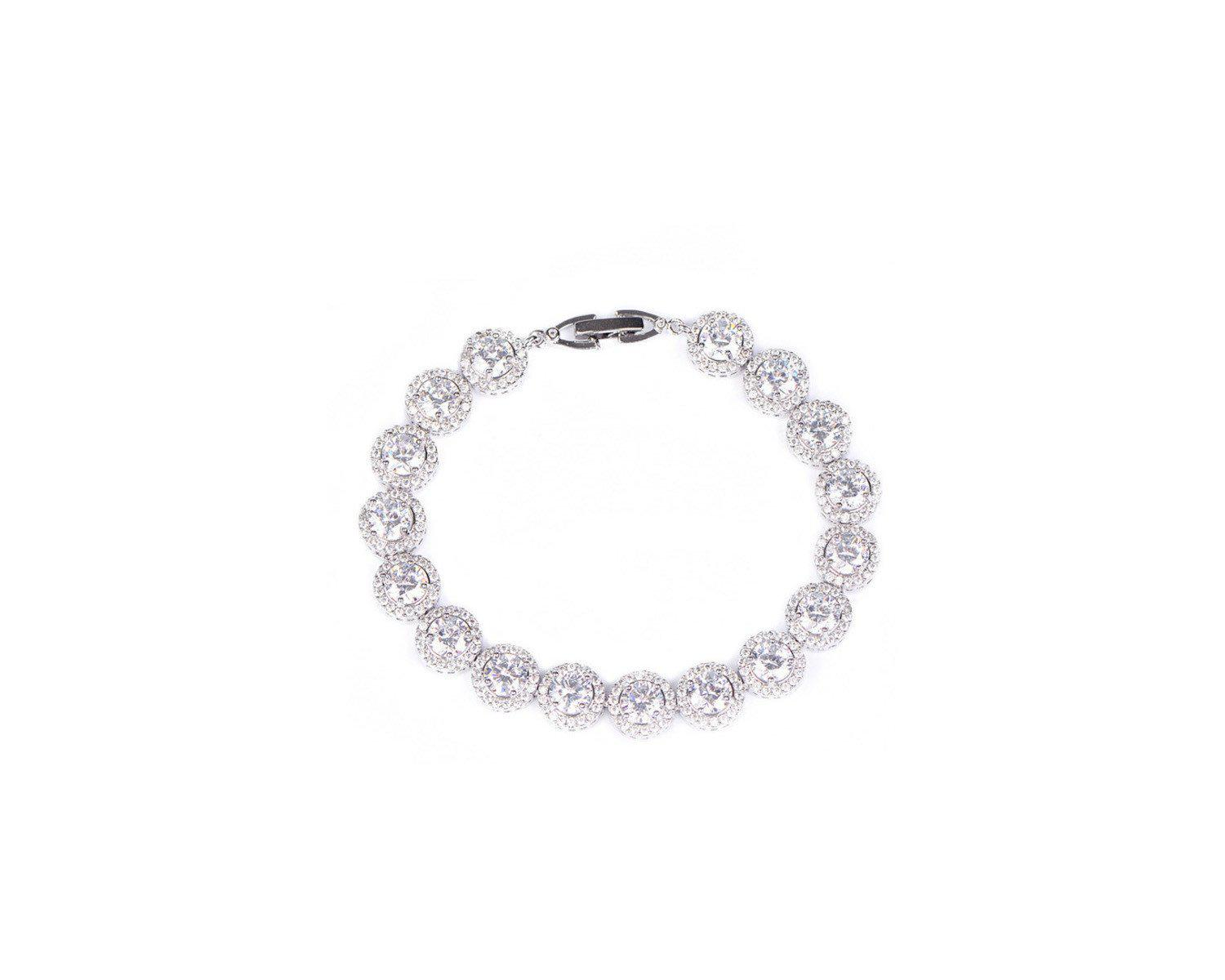 MyKay Elegant Halo Round Cut CZ Diamond Bridal Bracelet WHITE