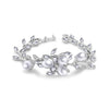 MyKay Pearl and Petal CZ Diamond Bridal Bracelet