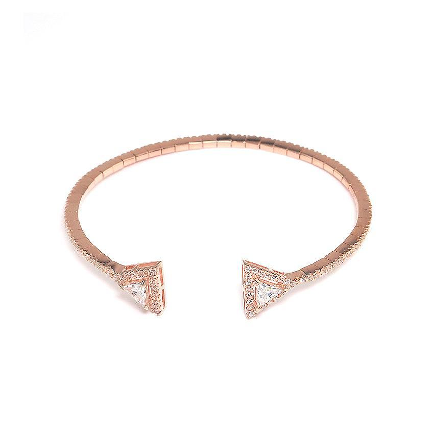 MyKay Rose Gold Pavé Halo Triangle CZ Diamond Bangle Bracelet in Sterling Silver