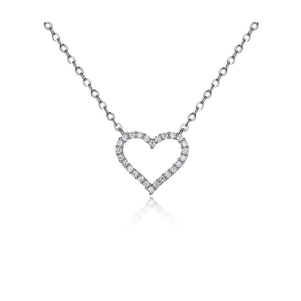 Heart Pendant CZ Diamond Sterling Silver Necklace