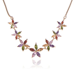 Flower Multi-colour CZ Diamond Necklace