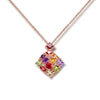MyKay Gorgeous Square-shape Pendant Multi-colour CZ Diamond Necklace