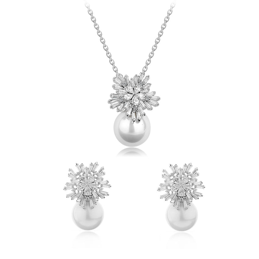 MyKay Snowflake Tapered Baguette & Pearl CZ Diamond Jewelry Set