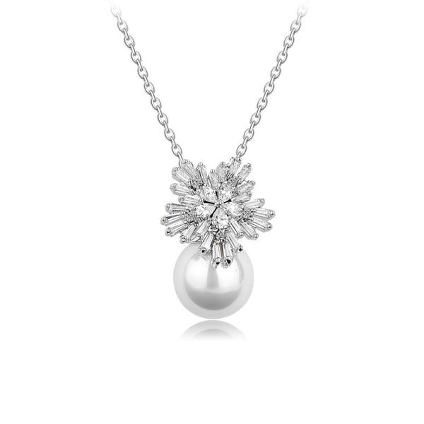 Snowflake Tapered Baguette & Pearl Pendant CZ Diamond Necklace
