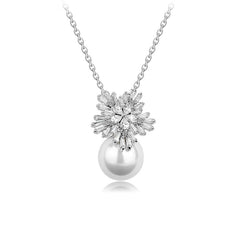 MyKay Snowflake Tapered Baguette & Pearl Pendant CZ Diamond Necklace