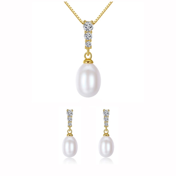 MyKay Pearl Drop Pendant CZ Diamond Necklace & Earrings Sterling Silver Jewelry Set