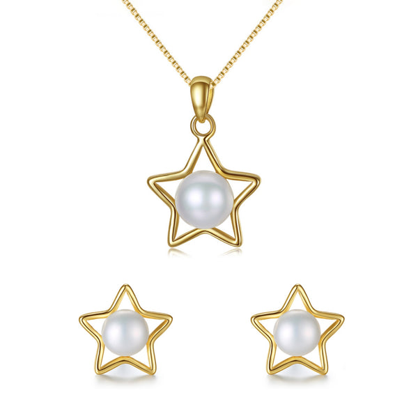 MyKay Exquisite Golden Star Pearl Necklace & Earrings Sterling Silver Jewelry Set