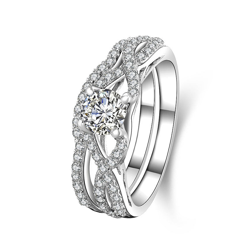 MyKay Twisted Round Cut 0.5ct CZ Diamond Bridal Ring Set in Sterling Silver
