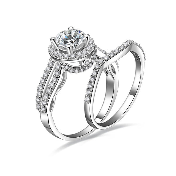 MyKay Split Shank Halo Round Cut 1.0ct CZ Diamond Bridal Ring Set in Sterling Silver