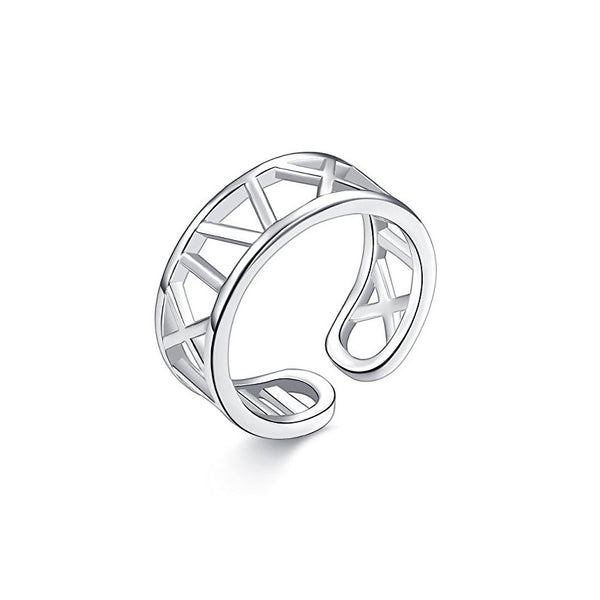 MyKay Roman Numeral Adjustable Ring in Sterling Silver