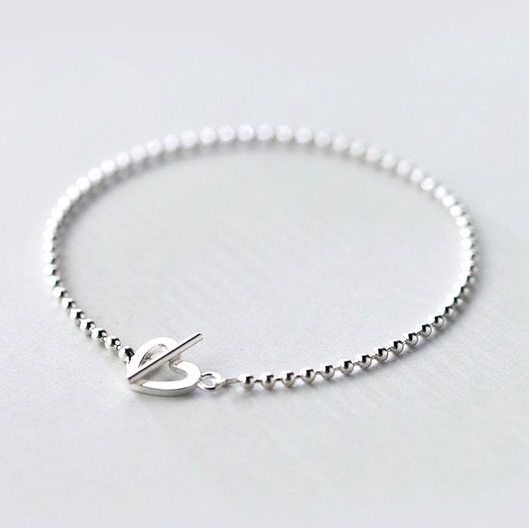 Mini Beads Heart Toggle Bracelet in Sterling Silver