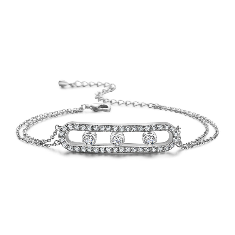 Sparkling Cage Bracelet with Rolling Swarovski Elements White Gold