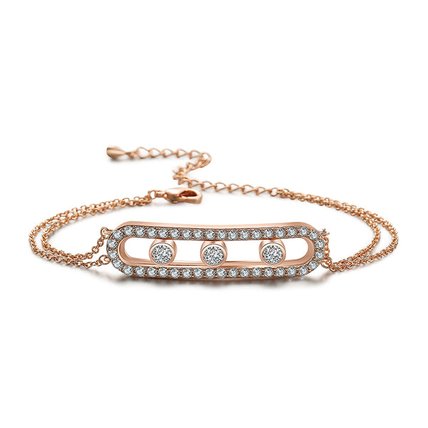 Sparkling Cage Bracelet with Rolling Swarovski Elements Rose Gold