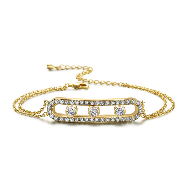 Sparkling Cage Bracelet with Rolling Swarovski Elements Yellow Gold