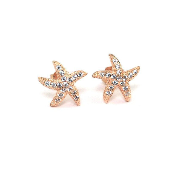 MyKay Starfish Pave Swarovski Crystal Stud Earrings in Sterling Silver rg