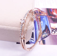 MyKay Rose Gold Star Dangle Pavé Round CZ Diamond Bangle Bracelet