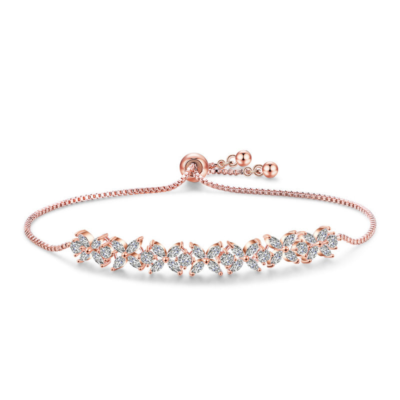 MyKay Adjustable Swarovski Element Small Clover Bracelet ROSE GOLD
