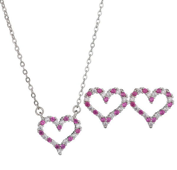MyKay Love Heart CZ Diamond Necklace & Sterling Silver Prongs Earrings Jewelry Set