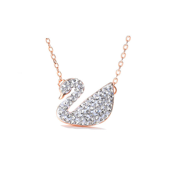 MyKay Swan Necklace with Swarovski elements - White