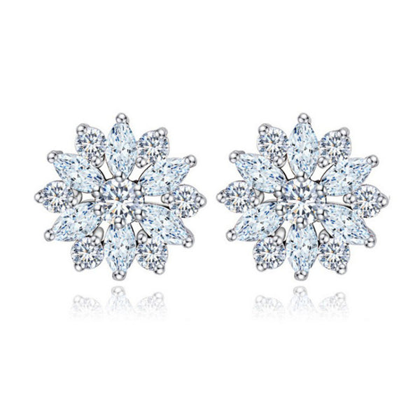 MyKay Beautiful Flower CZ Diamond Stud Earrings