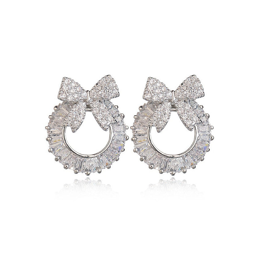 flower silver white swarovski tear water diamond cluster circle i engagement zircon earrings cz crystal wat stud halo