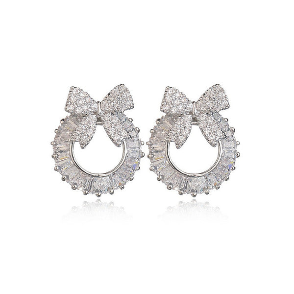 MyKay Bow Wreath Baguette CZ Diamond Stud Sterling Silver Prongs Earrings