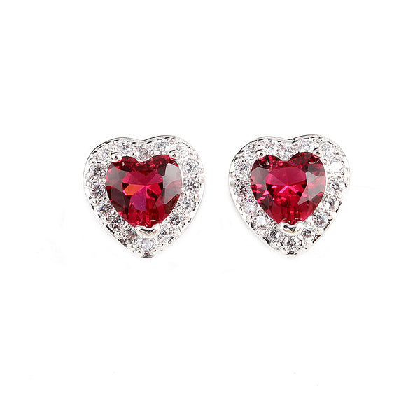 MyKay Heart Halo CZ Diamond Stud Sterling Silver Prongs Earrings RED