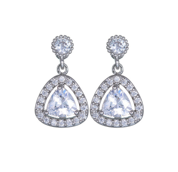 MyKay Triangular Round Dangle CZ Diamond Sterling Silver Prongs Earrings silver