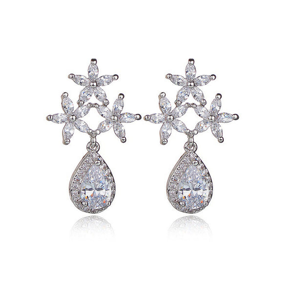 MyKay Glamourous Tri-floral Teardrop CZ Diamond Sterling Silver Prongs Earrings