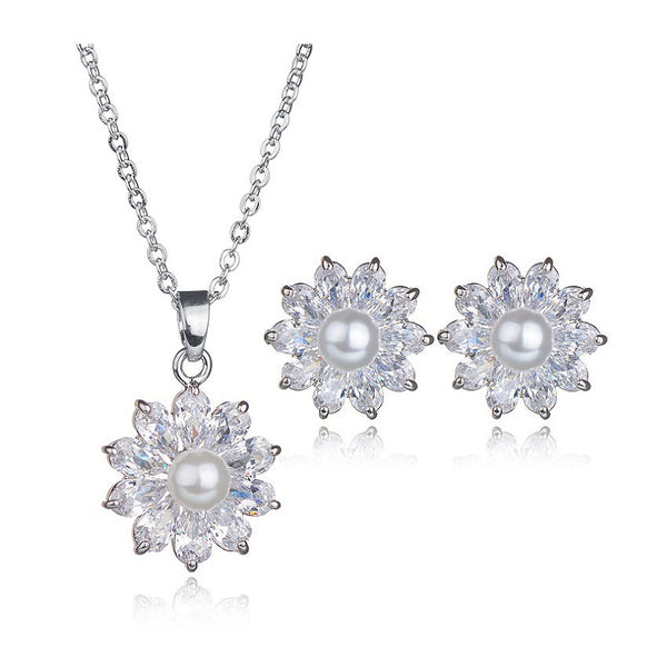 Petals & Pearl CZ Diamond Jewelry Set