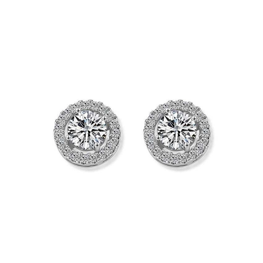 MyKay Classic Halo Round Cut 2.0ct CZ Diamond Stud Earrings