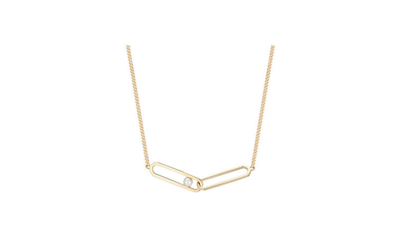 MyKay Golden Double Long Interlocking Loop with Pearl in Sterling Silver