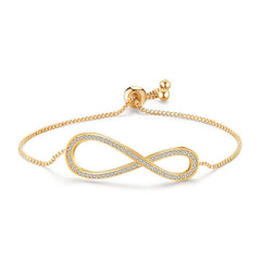 MyKay Adjustable Infinity Swarovski Crystal Bracelet Yellow Gold