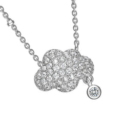 Single Cloud Pendant CZ Diamond Necklace in Sterling Silver