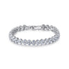 Three Rows Staggered Round Cut CZ Diamond Tennis Bracelet