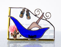 Blue Bathtub Lady Night Light with Auto Sensor. Stained Glass.
