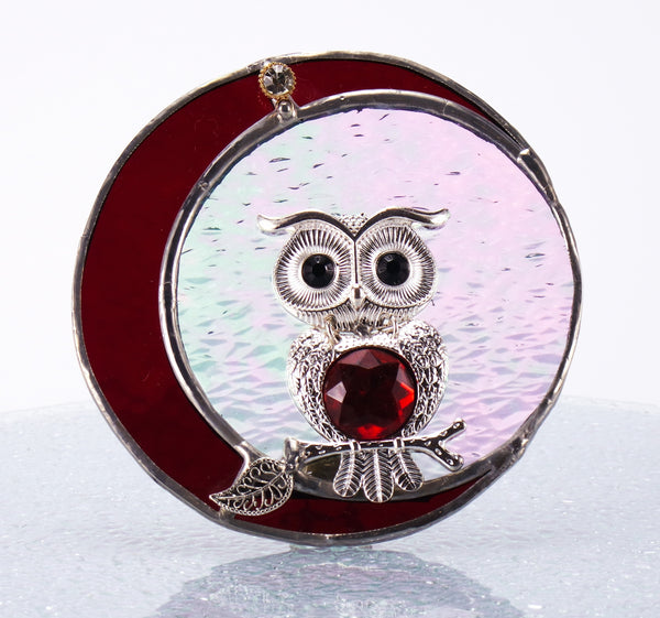 Blood Moon Owl Night Light with Auto Sensor. Red Stained Glass.