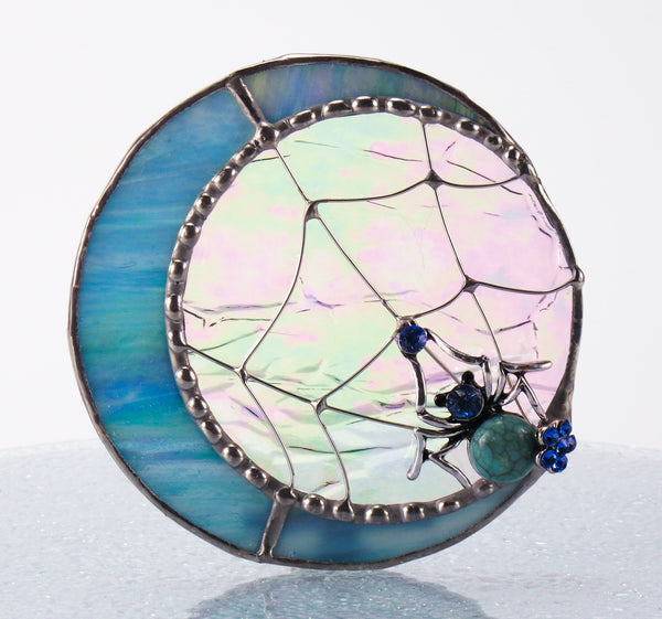 Blue Jeweled Moon Spider Night Light with Auto Sensor. Stained Glass.