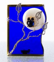 Blue Moon Owl Night Light with Auto Sensor. Stained Glass.