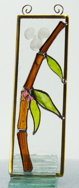 "Bamboo Dragonfly Stained Glass Suncatcher 2"" x 6"""