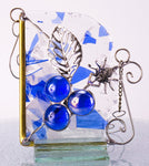 "Blueberry Spider Window Corner Stained Glass. 3.5"" x 4"""